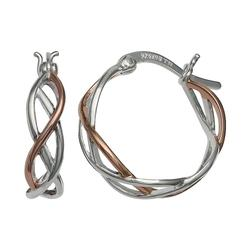 Primrose Two Tone Sterling Silver and 18k Rose Gold plated Hoop Earring, Women's
