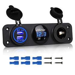 Linkstyle 3 in 1 Charger Socket Panel, 12V Dual USB Car Socket Charger Socket Power Outlet & LED Digital Voltmeter & Cigarette Lighter Socket Splitter Adapter for Truck Car Marine Boat RV