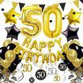 Cocodeko 50th Birthday Decorations, Black Gold Happy Birthday Balloons Number 50 Star Foil Balloons Birthday Confetti Triangular Garland Star-shaped Banner Hanging Swirls for Birthday Party Supplies