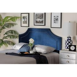 Baxton Studio Avignon Modern & Contemporary Navy Blue Velvet Fabric Upholstered King Size Headboard- BBT6566-Navy Blue-HB-King