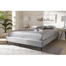 Baxton Studio Volden Glam & Luxe Charcoal Velvet Fabric King Size Wood Platform Bed Frame w/ Gold-Tone Leg Tips- BBT6598A1-Dark Grey-King