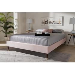 Baxton Studio Volden Glam & Luxe Light Pink Velvet Fabric Queen Size Wood Platform Bed Frame w/ Gold-Tone Leg Tips- BBT6598A1-Light Pink-Queen