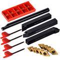 10Pcs DCMT0702 Carbide Inserts w/ 4Pcs 12mm Lathe Turning Tool Holder Boring Bar