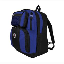 TRANSWORLD Double Gusset 17-inch Backpack, Black Royal Blue