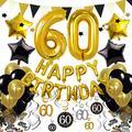 Cocodeko 60th Birthday Decorations, Black Gold Happy Birthday Balloons Number 60 Star Foil Balloons Birthday Confetti Triangular Garland Star-shaped Banner Hanging Swirls for Birthday Party Supplies
