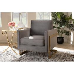 Baxton Studio Matteo Glam & Luxe Grey Velvet Fabric Upholstered Gold Finished Armchair - TSF-77241-Grey/Gold-CC