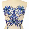 Flower AB Sequin Sew on Beaded Rhinestones Applique Collar Trim Crystals Patches Sewing for Bridal Wedding Dress Accessory 34x34cm DIY Chest Waist Decoration (Blue)