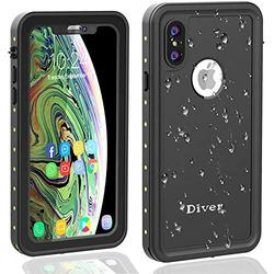 Diverbox Waterproof Case Compatible with iPhone X/Xs, Durable Shockproof Cellphone Case with Wrist Strap, Wireless Charging Supported,for Underwater, Swimming, Snorkeling, Diving, 5.8'' (Black)
