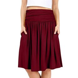 Burgundy Skirts for Women Burgundy a Line Skirt Knee Length Skirts Reg and Plus Size Burgundy Skirt Reg and Plus Size Skirts for Women (Size 1X, Burgundy)