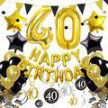 Cocodeko 40th Birthday Decorations, Black Gold Happy Birthday Balloons Number 40 Star Foil Balloons Birthday Confetti Triangular Garland Star-shaped Banner Hanging Swirls for Birthday Party Supplies