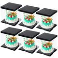 """CODOHI 6 Packs Clear Plastic Birthday Cake Carrier Bakery Packaging Boxes Transparent Baking Cookie Display Pack Box Carry Tall Layer Gift Toy Box 6.7""""x6.7""""x8.5"""" - Black"""