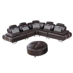 "Orren Ellis Kling 113"" Wide Faux Leather Symmetrical Modular Corner Sectional w/ Ottoman Faux Leather/Leather in Brown   Wayfair"