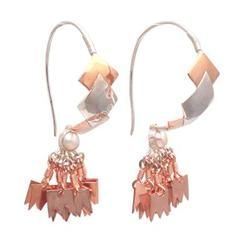 Rose gold accented sterling silver chandelier earrings, 'Millenary Beauty'