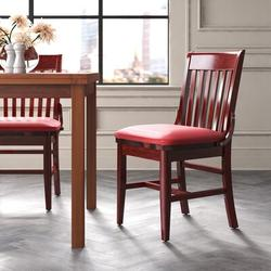 Regal Beechwood School House Seat Upholstered Dining ChairFaux Leather/Wood/Upholstered in Brown/Red, Size 34.5 H x 19.0 W x 20.0 D in | Wayfair
