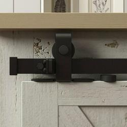 American Pro Decor Solid Mini Sliding Standard Double Door Barn Door Hardware Kit in Black, Size 1.0 H x 60.0 W x 1.0 D in | Wayfair 5APD10906