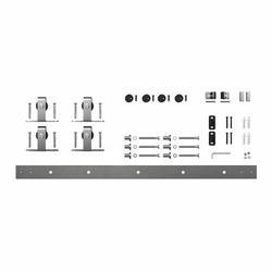 American Pro Decor Solid Mini Sliding Standard Double Door Barn Door Hardware Kit in Gray, Size 1.0 H x 48.0 W x 1.0 D in | Wayfair 5APD10911