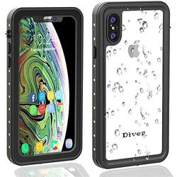 Diverbox Waterproof Case Compatible with iPhone X/Xs, Durable Shockproof Cellphone Case with Wrist Strap, Wireless Charging Supported,for Underwater, Swimming, Snorkeling, Diving, 5.8'' (Clear)