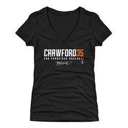 500 LEVEL Brandon Crawford Shirt for Women (Women's V-Neck, Large, Tri Black) - San Francisco Shirt for Women - Brandon Crawford Elite O WHT
