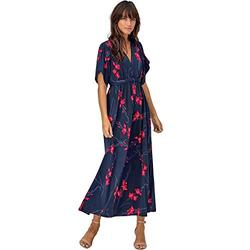 ellos Women's Harper Fit & Flare Maxi Dress - 18/20, Navy Red Print