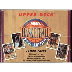 Upper Deck 1991 - 1992 NBA Basketball Jumbo Packs Unopened Wax Box - 27 Cards Per Pack