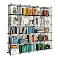 "KOUSI 14""x14"" Wire Cube Storage, Metal Grid Organizer, 25-Cube Modular Shelving Unit, Stackable Bookcase, Ideal for Living Room, Bedroom, Office, Garage"