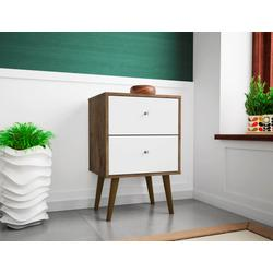 Manhattan Comfort 204AMC96 - Liberty Mid Century Modern Nightstand 2.0 w/ 2 Full Extension Drawers in Rustic Brown & White