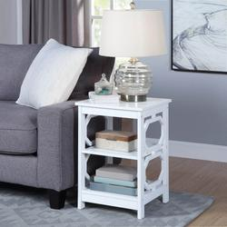 Omega End Table in White Finish - Convenience Concepts 203210W