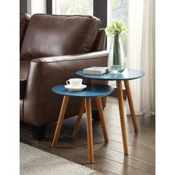 Oslo Nesting End Tables in Blue / Natural Finish - Convenience Concepts 203542BE