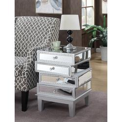 Gold Coast J Daniels End Table in Silver / Mirror - Convenience Concepts 413888SS
