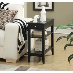 American Heritage Three Tier End Table /w Drawer in Black Finish - Convenience Concepts 7107159BL
