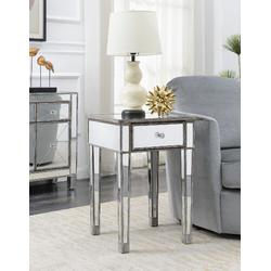 Gold Coast Mirrored End Table w/ Drawer in Weathered Gray - Convenience Concepts 413345WGY