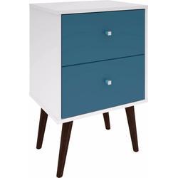 Manhattan Comfort 204AMC64 - Liberty Mid Century - Modern Nightstand 2.0 w/ 2 Full Extension Drawers in White & Aqua Blue w/ Solid Wood Legs