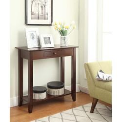 American Heritage Hall Table /w Drawer & Shelf in Espresso Finish - Convenience Concepts 8013081-ES