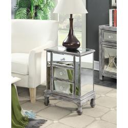 Gold Coast Vineyard 3 Drawer Mirrored End Table in Weathered Gray / Mirror Finish - Convenience Concepts 413359WGY