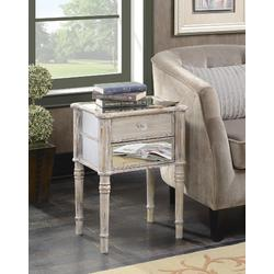 Gold Coast Mayfair End Table in Weathered White / Mirror - Convenience Concepts 413745WW