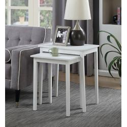 American Heritage Nesting End Tables in White - Convenience Concepts 7105076W