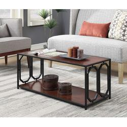 Omega Metal Frame Coffee Table in Cherry / Black - Convenience Concepts 166182CH