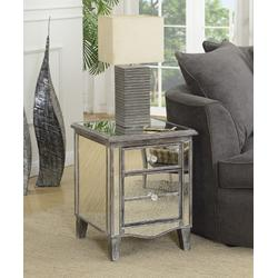 Gold Coast Park Lane Mirrored 1 Drawer End Table with Storage Cabinet - Convenience Concepts 413551WGY