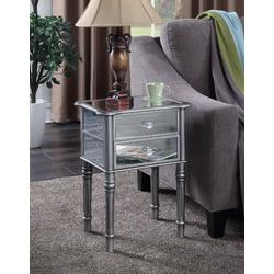 Gold Coast Mayfair End Table in Silver / Mirror - Convenience Concepts 413745S