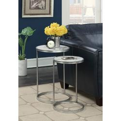Gold Coast Faux Marble Nesting End Tables in Faux Marble / Silver - Convenience Concepts 413555S