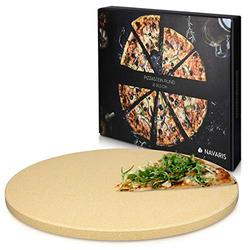 Navaris XL Pizza Stone for Baking - Cordierite Pizza Stone Plate for BBQ Grill Oven - Cook and Serve Pizza Bread Cheese - Round, 12 x 0.6 Inches