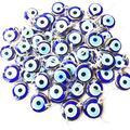 "Bion, Gold - Silver Evil Eye Glass Beads, 1.7"" (4.5cm), malocchio Evil Eye Wall Hanging, Gold Evil Eye Charm, car Rear Mirror Charm, Greek Eye, Ojoturco, Turkish Evil Eye, Nazar (Silver - 10 PCS)"