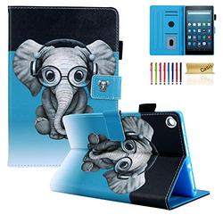 Fire HD 8 Case, Casii Ultra Lightweight Protective Folio Stand Smart Magnetic Cover with Card Slots Multi-Angle Viewing Fit All-New Amazon Fire HD 8 Case (6th/7th/8th Generation), Headphone Elephant