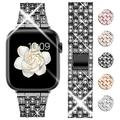 Goton Bling Band Compatible for Apple Watch Band 44mm 42mm , Women Luxury Diamond Bling Crystal Stainless Metal Replacement Strap for iWatch Band Series 6 5 4 3 2 1 (Black - 44mm 42mm)