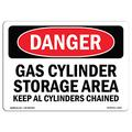 OSHA Danger Sign - Gas Cylinder Storage Area Keep All Cylinders   Plastic Sign   Protect Your Business, Construction Site, Shop Area   Made in The USA