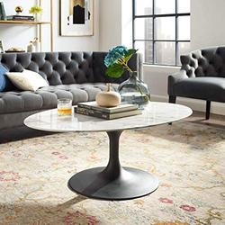 """Modway Lippa Mid-Century Modern 42"""" Oval Artificial Marble Coffee Table in Black White"""