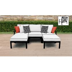 kathy ireland Homes & Gardens Madison Ave. 5 Piece Outdoor Aluminum Patio Furniture Set 05e in Snow - TK Classics Madison-05E