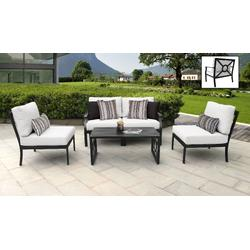 kathy ireland Homes & Gardens Madison Ave. 5 Piece Outdoor Aluminum Patio Furniture Set 05d in Alabaster - TK Classics Madison-05D-White