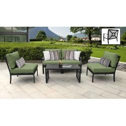 kathy ireland Homes & Gardens Madison Ave. 5 Piece Outdoor Aluminum Patio Furniture Set 05d in Forest - TK Classics Madison-05D-Cilantro