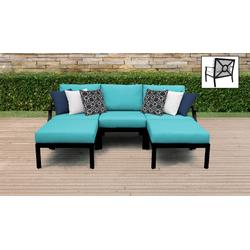 kathy ireland Homes & Gardens Madison Ave. 5 Piece Outdoor Aluminum Patio Furniture Set 05e in Aqua - TK Classics Madison-05E-Aruba